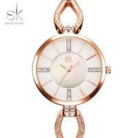 2017 Sk עיצוב אופנה יוקרה צמיד שעונים נשים מותגים מפורסמים שעון זהב גבירותיי נשים שורש כף יד שעונים Relogio Femininos