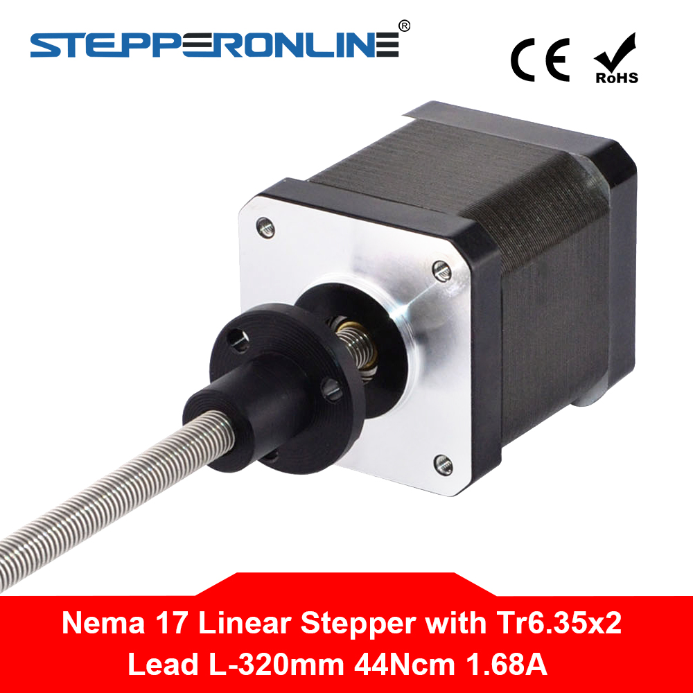 300mm Length Nema 17 External Linear Stepper Motor 1 68A 4 wire with Tr6 35x2 Lead