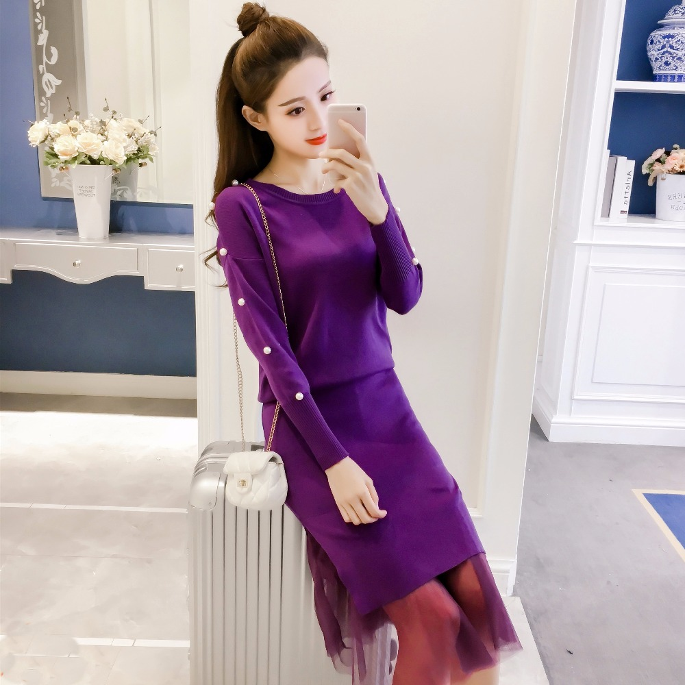 2018 Autumn New Women Fashion Clothing Sets Ladies Long Sleeve Beading Knitted Sweater Tops with Mesh Dress Suits Female L1319