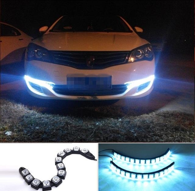 2016 IP67 Cobra DRL Tira CONDUZIDA Flexível dobra luz de nevoeiro 12 V 6 W Trecho Decoração tiras de LED Carro de circulação diurna e luz decorativa