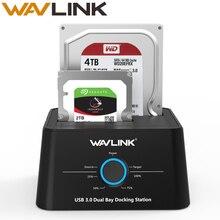 Estación de acoplamiento de disco duro Wavlink USB C 3,1 a SATA 2 Bay 5Gbps 12TB para 2,5/3,5 pulgadas HDD/SSD clon sin conexión y copia de seguridad de un botón