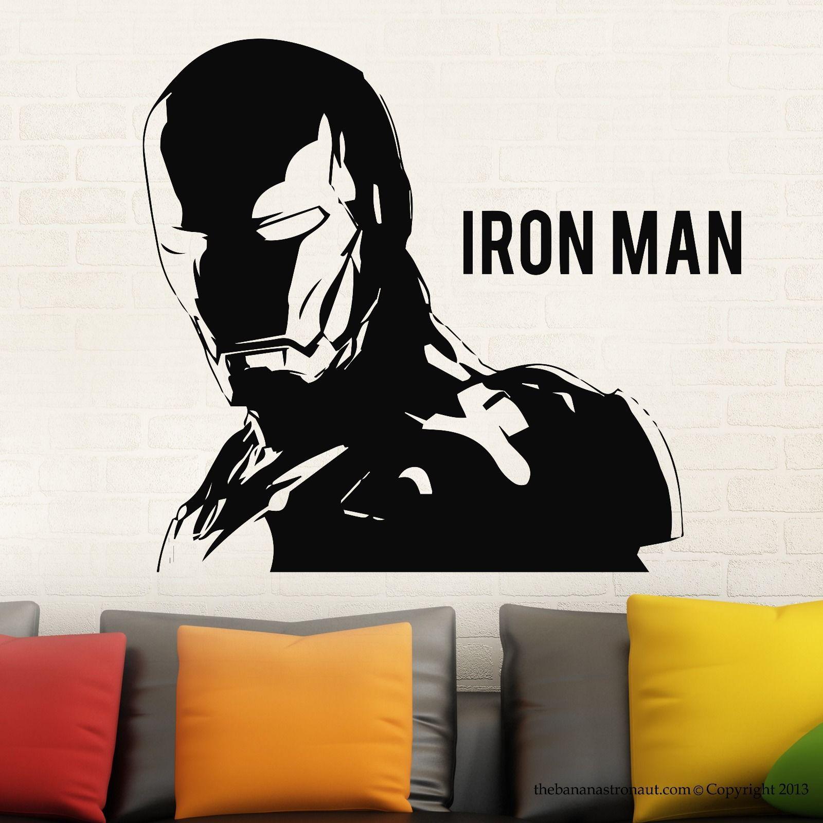 Hwhd ironman sticker autocollants marvel comics décor moderne autocollants vinyle noir livraison gratuite dans stickers muraux de maison jardin sur