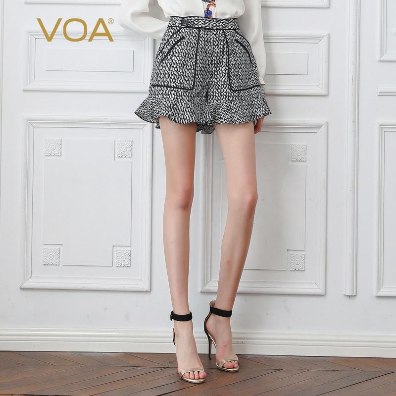 VOA Высокая Талия Для женщин прилив шорты осень зима модная универсальная 100% шелк женские плавки женские Повседневное Хаундстут шорты K802