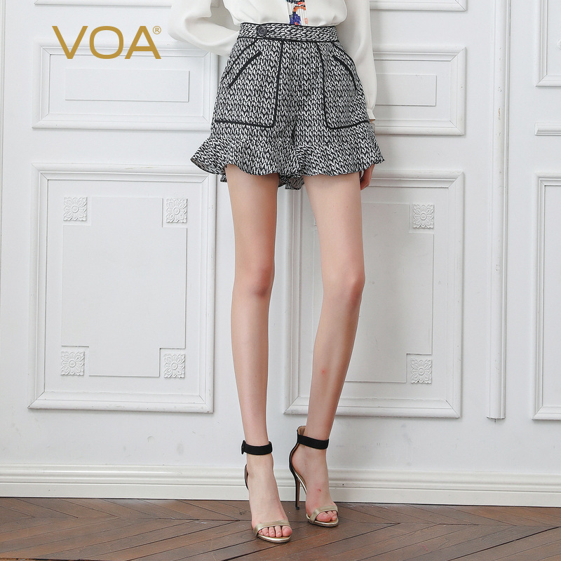 VOA High Waist Women Tide Shorts Autumn Winter Fashion All-match 100% Silk Ladies Bottoms Female Casual Houndstooth Shorts K802