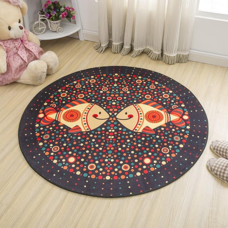 Simple Style Round Carpet Kids Rug for Bedroom Bedside Rug Tapeta Baby Crawling Mat Hallway Floor Mat Nice Carpet Kids Room