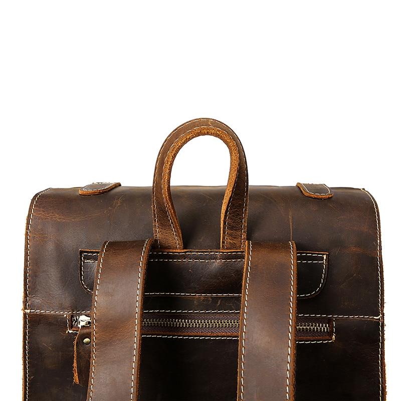 Sac à dos de mode en cuir de vache haut de gamme sac à dos de voyage pour hommes d'affaires sac en cuir de grande capacité pour étudiants sac à dos de Magazine - 4