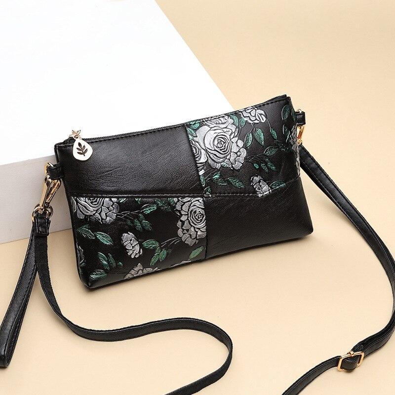 2019 Women Bag Female Shoulder Bag Flower Floral Crossbody Leather Zipper Pocket Messenger Handbags Mini Femme Designer Vintag 6