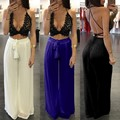 Summer Two Piece Set Women Sexy Eyelash Lace Embroidery Cropped Caged Backless Bralette High Waist Wide Leg Palazzo Pants Set