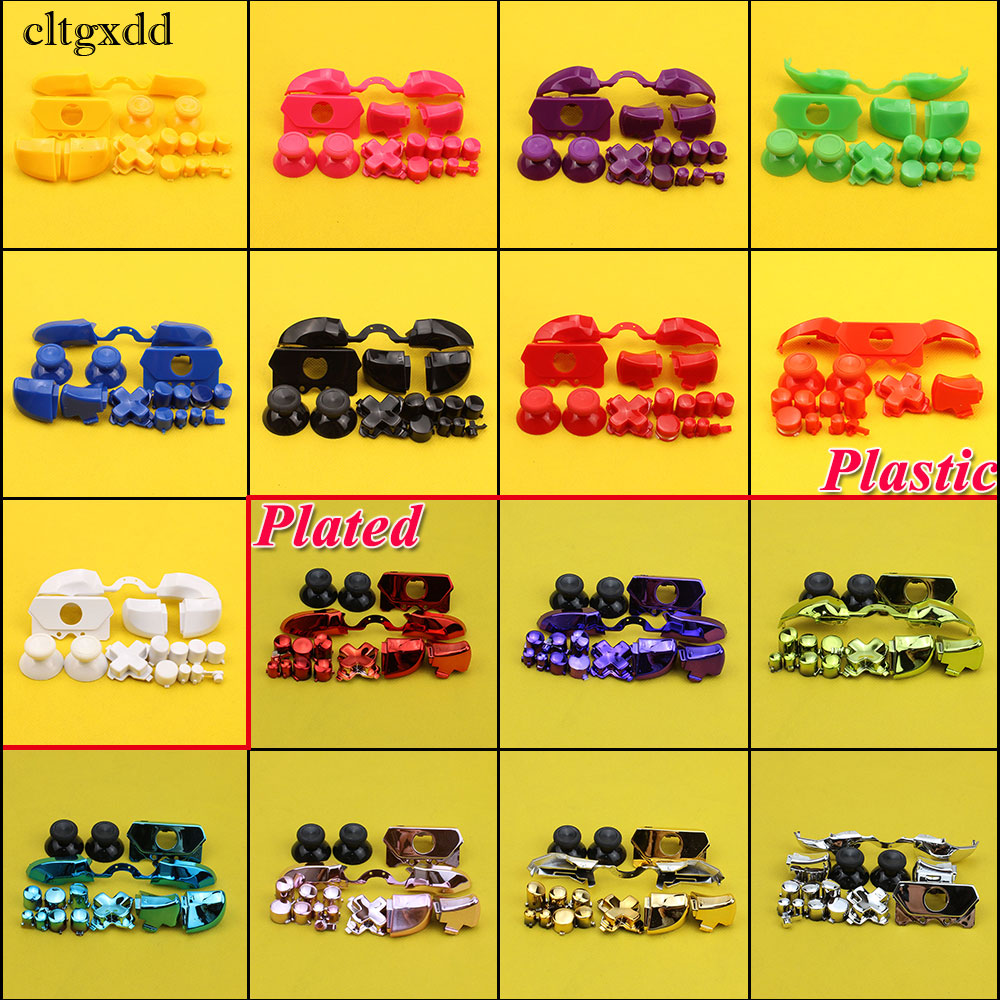 cltgxdd Full Button Sets Mod Replace Dpad ABXY Trigger Parts for Microsoft Xboxone Controller Chrome Solid/Plastic