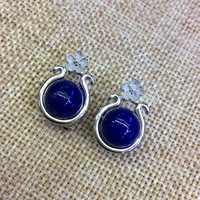 [S925] longnice silver silver inlaid pure natural lapis lazuli stone flower ear earrings