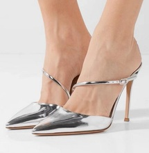 Fashion Silver Leather Pointed Toe Women Sandals Cut-out Thin Heels Ladies Shoes With Heels Real Photo One Strap Women Pumps