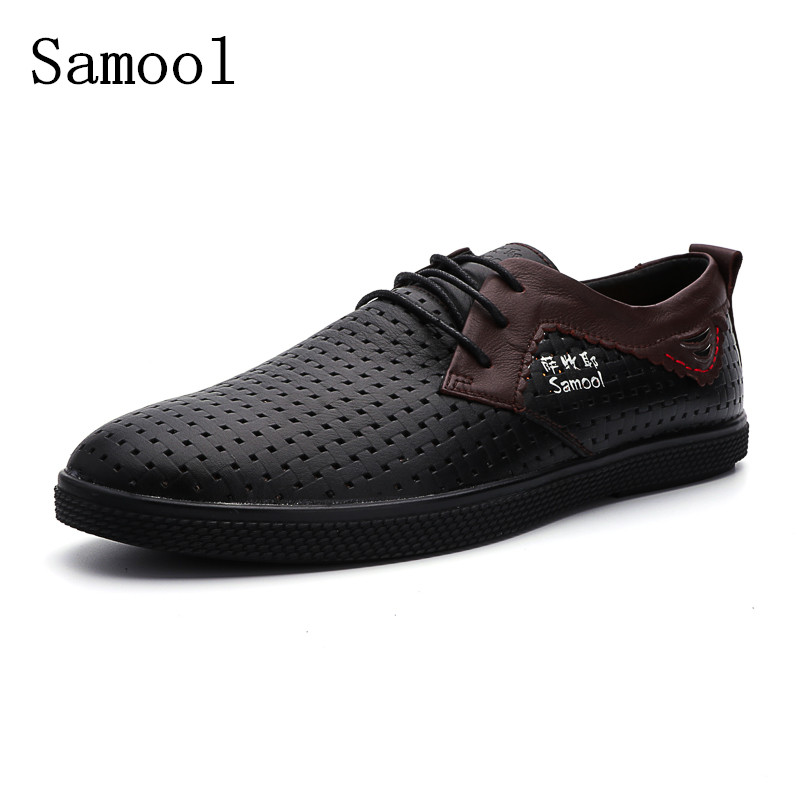 2017 High Quality Genuine Leather  summer Men Shoes Fashion Flat Businessmen Loafers Cow Split Leather Casual Shoes Big Size ege brand men casual sandals new arrival genuine cow leather classics beach male shoes summer high quality sandals for men