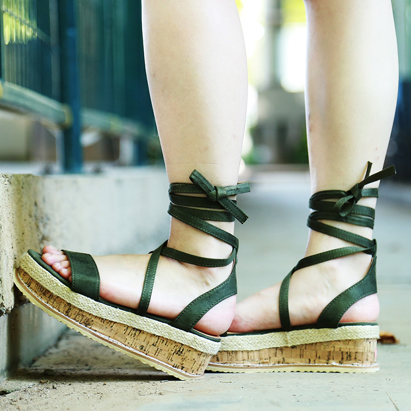 HTB1PNplXNrvK1RjSszeq6yObFXah Summer White Wedge Espadrilles Women Sandals Open Toe Gladiator Sandals Women Casual Lace Up Women Platform Sandals