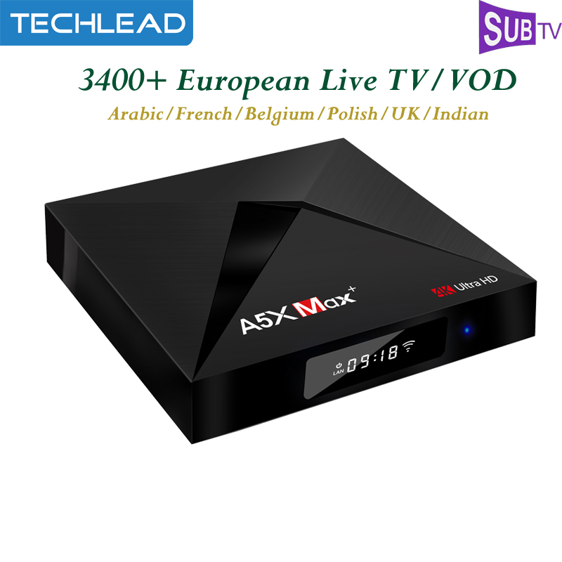 A5X Max TV Box Android 7 1 RAM 4GB ROM 32GB With Subtv French IPTV Subscription