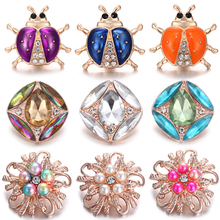 6pcs/lot New Snap Buttons Jewelry Metal 18mm Rhinestone Beetle Flower Fit Necklace Bracelet Women