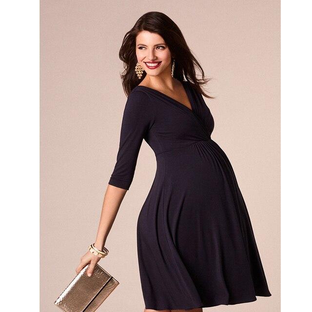 524a29e8fa80 2018 Sexy Scollo A V da Donna Vestiti di Maternità Incinta Estate Panno Vestiti  Gravidanza per la