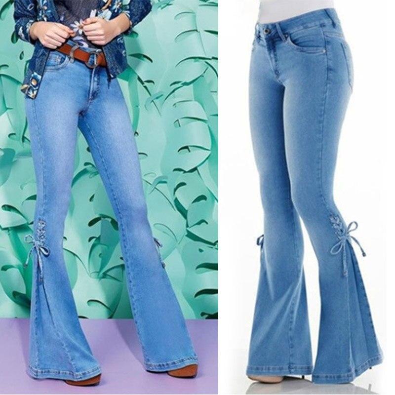 Ladies Mid-Waist Belt Denim Stretch Micro Bell Bottom Jeans Casual Fashion Jeans H9