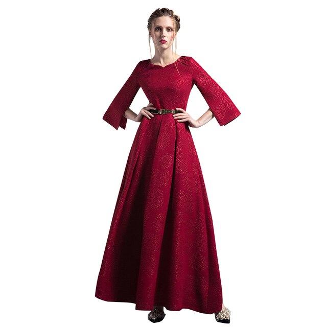 S XXXL Vintage Jacquard Frauen Falten Maxi Rot Party Nacht Kleid ...