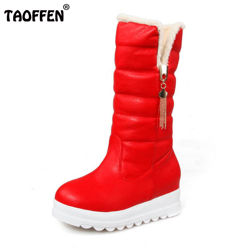 TAOFFEN Snow Boots Platform Women Winter Shoes Waterproof Mid Calf Boots Half Short Fur Boots Thickened Fur Botas Size 33-43 цена