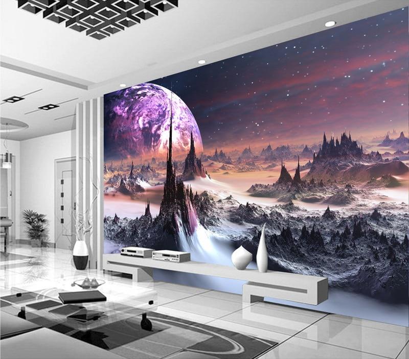 Purple galaxy Wallpaper 3D Photo Wallpaper Charming stars Wall Mural Kid Bedroom Living Room Decor TV