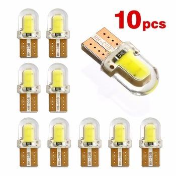 10 pièces LED W5W T10 194 168 W5W COB 8SMD LED ampoule de stationnement Auto Wedge clairance lampe CANBUS silice blanc brillant licence ampoules