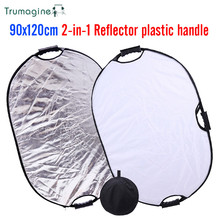 TRUMAGINE 90x120CM 2 IN 1 Silver/White Portable Collapsible Light Oval Reflector For Photography Studio With Carry Bag