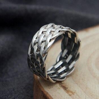 70b838655ef2 Hombres llanura anillos de plata 925 trenzado banda 925 los hombres de la  joyería de la plata esterlina oxidado plata tailandés Simple anillo Unisex