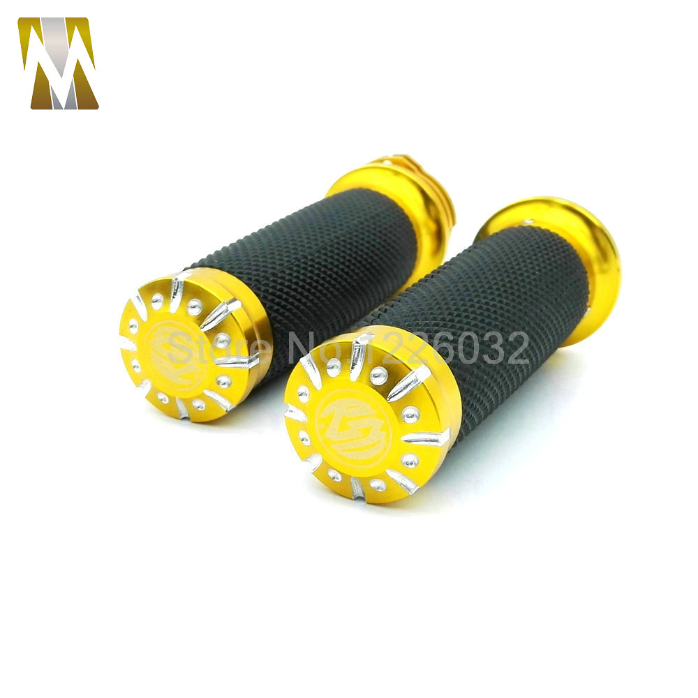 Yellow High Quality Motorcycle 1 25mm Aluminum CNC Deep Cut Handle Bar Hand Cross Grips For