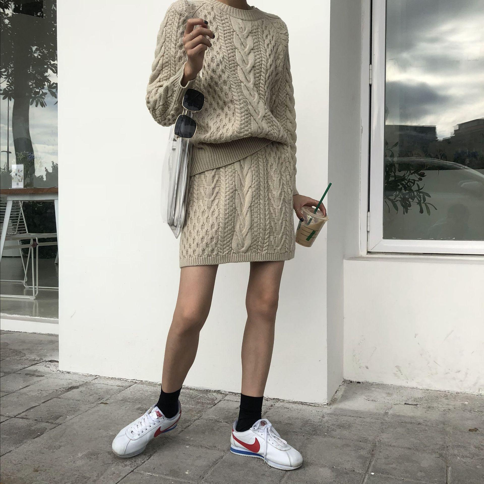 Poncho offre spéciale coton 2018 nouveau femmes tricot costume col rond décontracté à manches longues lâche pull + jupe deux pièces femme