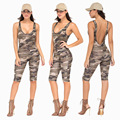 BKLD 2016 Summer New Arrival Casual Fashion Sexy Sleeveless Halter Rompers Women Jumpsuit for Women Camouflage Jumpsuit Clubwear