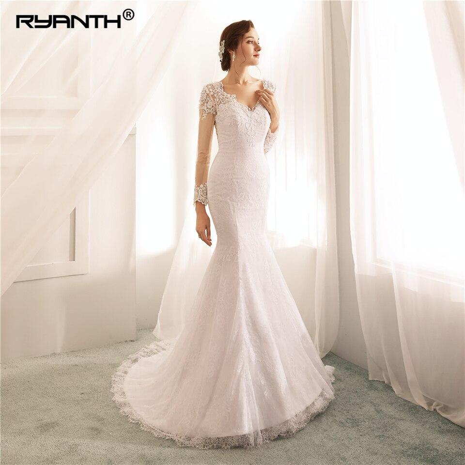 Cheap Vestido De Noiva Custom Made Long Sleeve Lace Mermaid Wedding Dresses 2019 Sexy V Neck