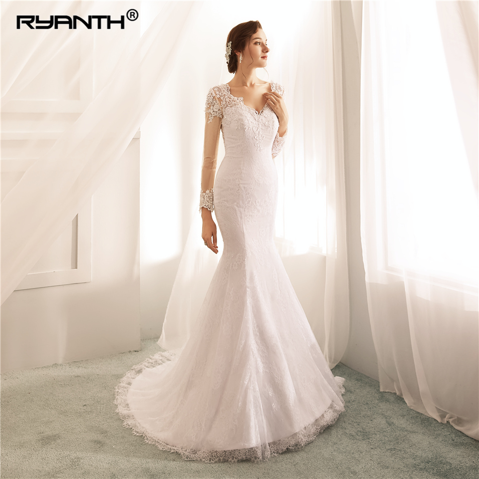 Cheap Vestido De Noiva Custom Made Long Sleeve Lace