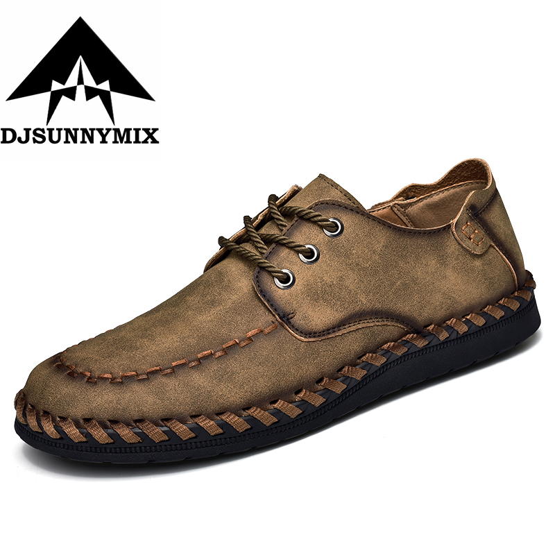 DJSUNNYMIX New Style Comfortable Casual Shoes Men Genuine Leather Shoes Non-slip Flats Handmade Oxfords Soft Loafers women genuine leather shoes for mother loafers new casual oxfords plus size soft comfortable flats sapato feminino zapatos mujer