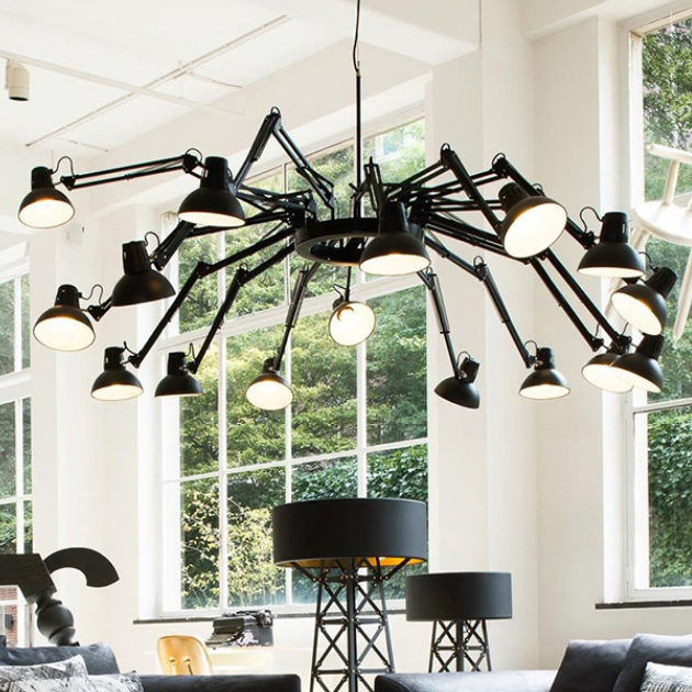 LED Modern Stretchable Spider Chandeliers Lights Fixture Nordic White Black Spider Working Drop Lights Home Indoor Hanging Lamps