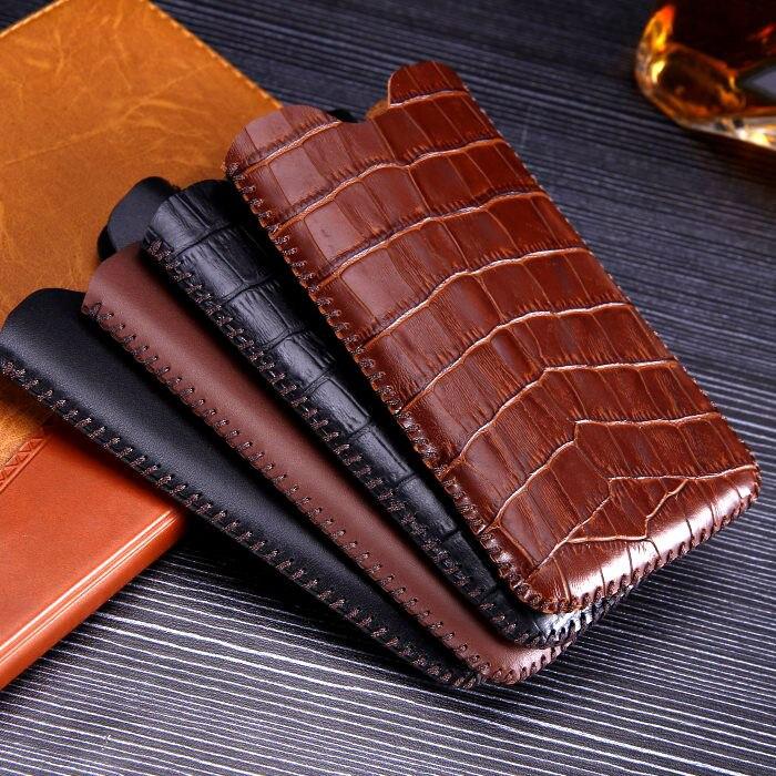 imágenes para Cajas del teléfono de cuero genuino natural de valija diplomática para iphone 7 billetera bolso del tirón de la cubierta de inserción recta bolsa de grano del cocodrilo para iphone7