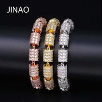 JINAO Hip Hop Fashion Round Bracelet Gold/Silver Plated Iced Out Micro Pave AAA CZ Stone Multicolor Bracelet For Gift Dropship