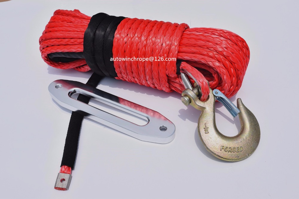 Red 12mm*30m ATV Winch Cable add 10 ATV Hawse Fairlead,Synthetic Winch Rope,ATV Winch Line,Plasma Rope