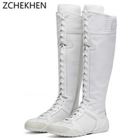 Роскошные брендовые кроссовки с перекрестной шнуровкой выше колена мотоциклетные ботинки Белая обувь из натуральной кожи высокая женская