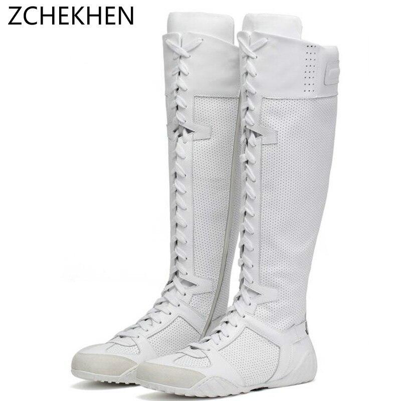 Роскошные брендовые сникерсы с перекрестной шнуровкой, Сапоги выше колена в байкерском стиле, Белая обувь, высокие женские сапоги из натура...