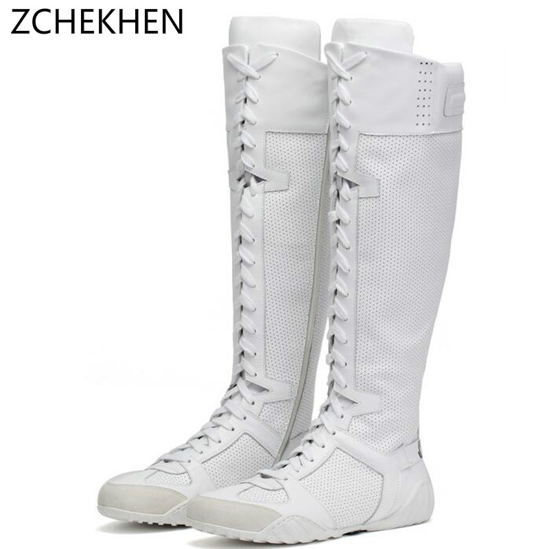 Luxury brand sneakers cross tied over Knee High Motorcycle boots White shoe Genuine Leather Long Women Boots Winter Botas Mujer