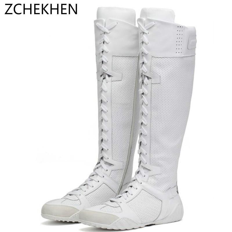 Marca de lujo zapatillas Cruz atada sobre la rodilla Botas de moto blanco cuero genuino largo mujeres Botas de invierno Botas Mujer