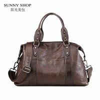 SUNNY SHOP Brand Designer Luxury 100 Genuine Leather Handbags Women Vintage Real Leather Shoulder Bags Travel