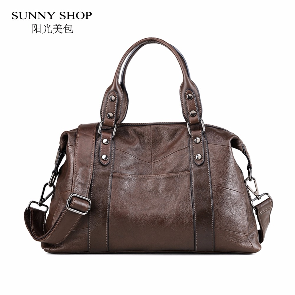 SUNNY SHOP Brand Designer Luxury 100% Genuine Leather Handbags Women Vintage Real Leather Shoulder Bags Travel business A4