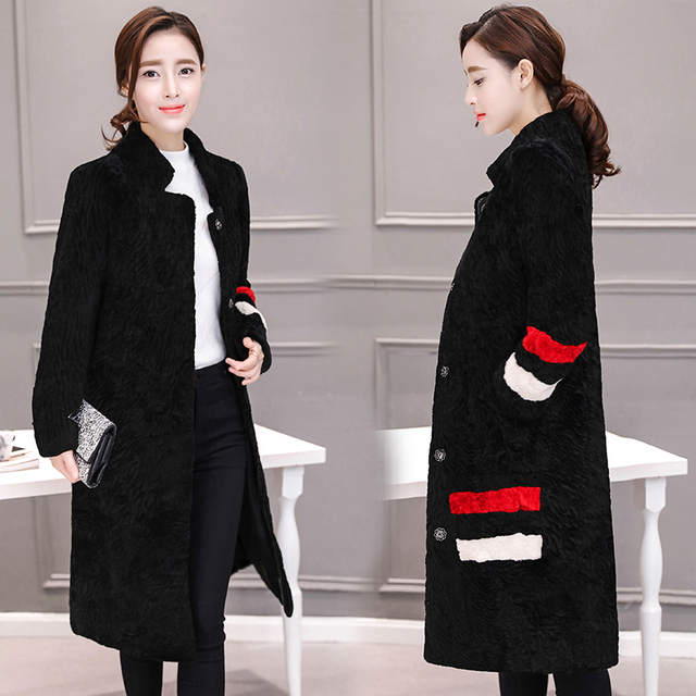 Real Sheep fur Coat For Winter Women Long Overcoat Slim Jackets Plus SIZE 2017 New Genuine Fur Coats