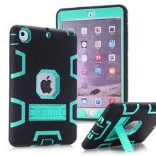 Caso para apple ipad mini 1/2/3 wefor resistente a prueba de golpes Fundas de goma Con Soporte Duro de La Cubierta W/Protector de Pantalla + Stylus pluma