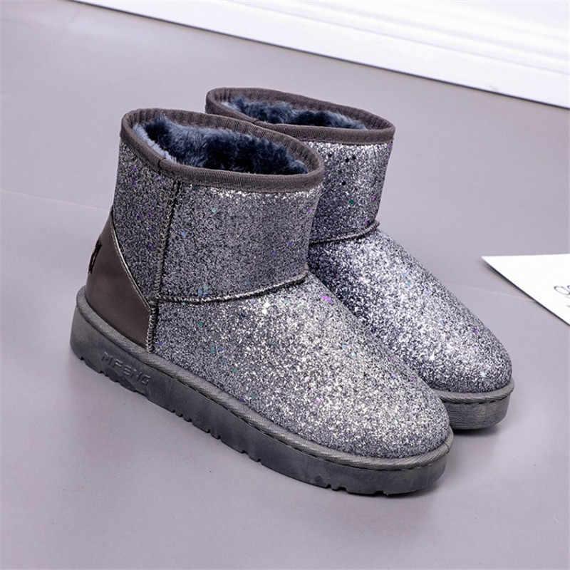 2018 neue Winter Stiefel Frauen Stiefeletten Glitter Warme Schnee Stiefel Plattform Schuhe Frau Komfortable Booties Weibliche Winter
