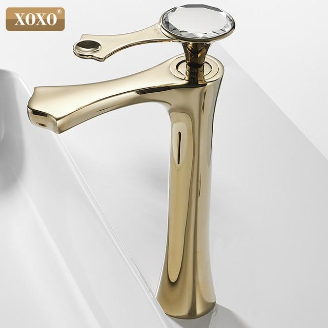 XOXO grifo de lavabo moderno de diamante, negro y dorado, para baño, 20085G