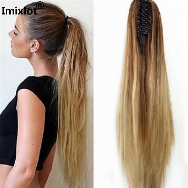 1 pc Longue Ligne Droite Queue de Cheval Perruques Cheveux Clips Extension Faux Fiber Noir Postiche Blond Hairgrips Bijoux Accessoires