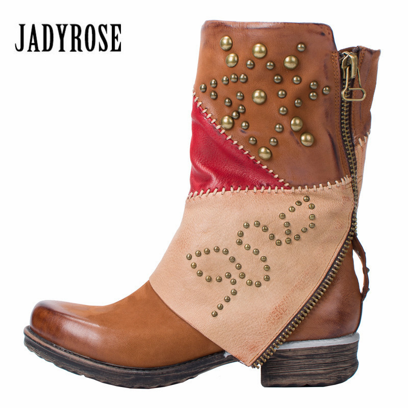 Jady Rose Color Block Rivets Studded Women Leather Martin Boots Autumn Winter Female Platform Rubber Boots Shoes Woman Flats chynnadolls 10389