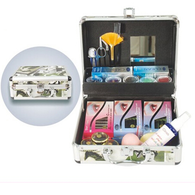 Professional False Extension Eyelash Glue Kit with Case Tool,eyelash extension tools SET , Beauty Grafting Eyelash Extension Kit new fashion professional high quality false extension eyelash glue brush kit set with box case salon tool 4
